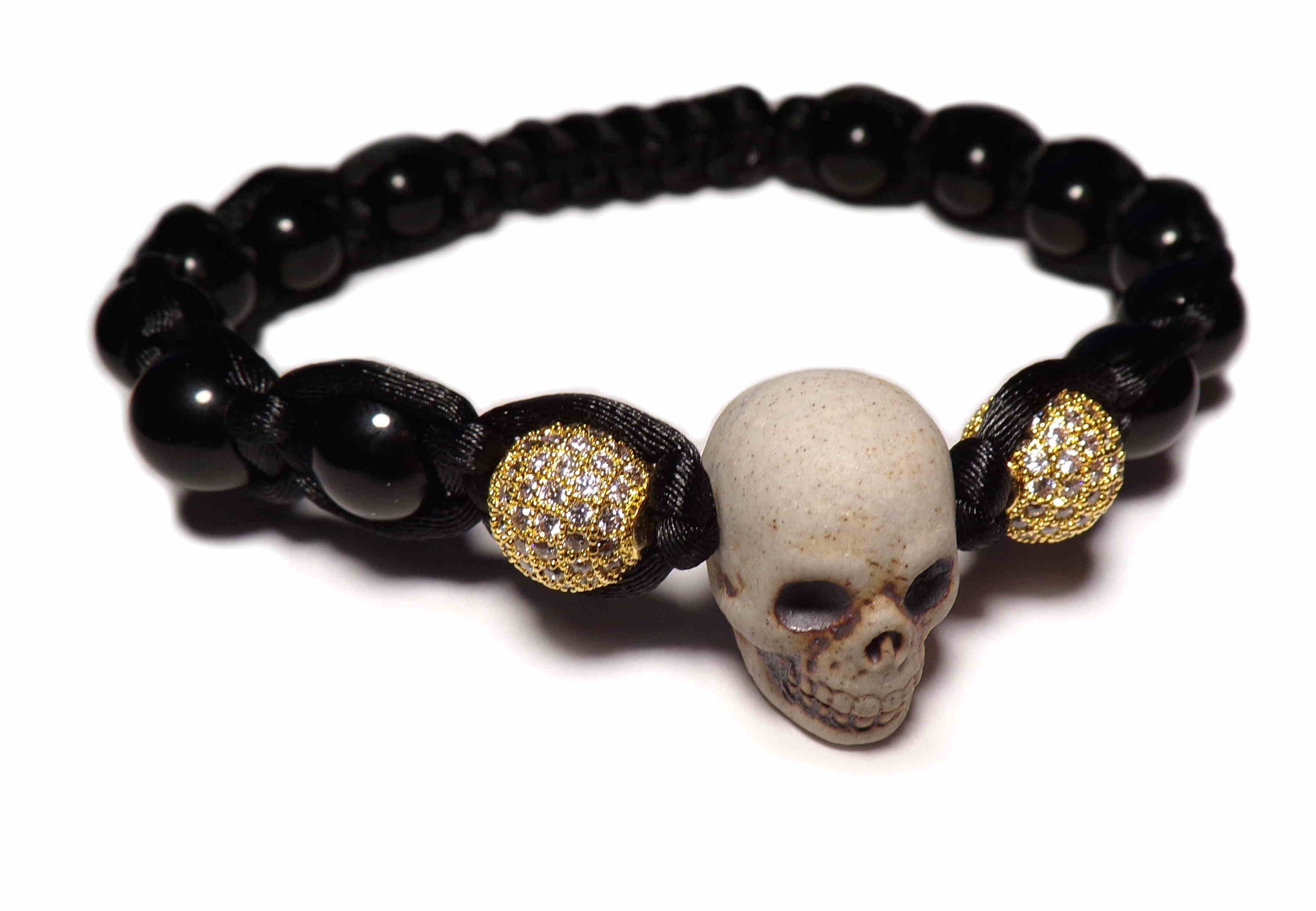 Johnny Hallyday pearl skull bracelet