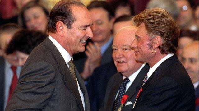 Johnny Hallyday avec le président Chirac