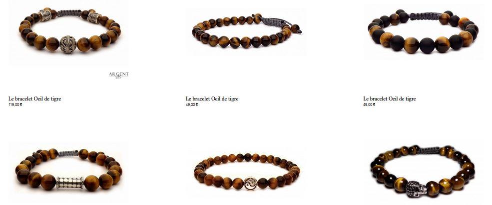 catalogue des bracelets avec perles oeil de tigre