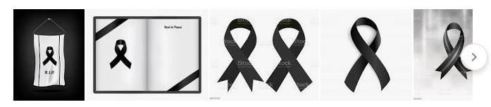 black ribbons mourning symbol